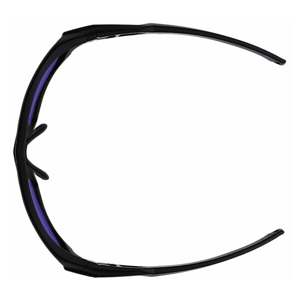 Model Q368 Glassworking Safety Glasses Sodium Flare Polycarbonate in Black and Blue Frame, Angled to the Top