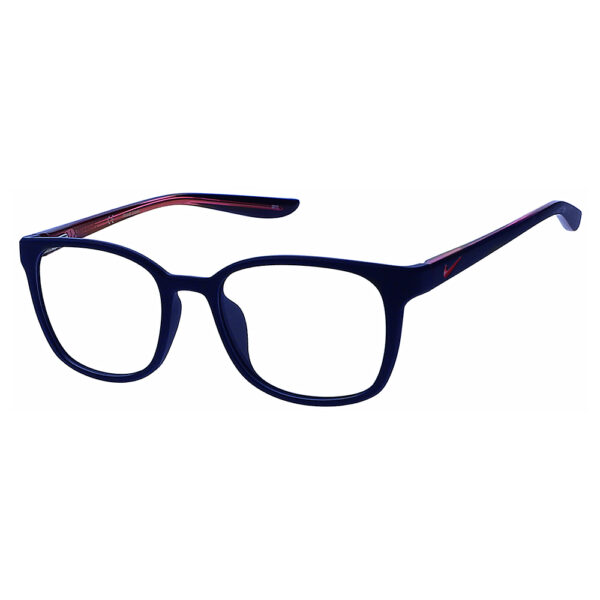 Nike 5027 Radiation Glasses 406 in Matte Midnight Navy/Pink Frame, Angled to the Side Left