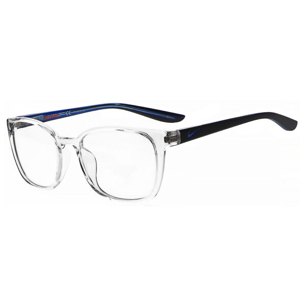 Nike 5027 Radiation Glasses 904 in Clear/Midnight Navy Frame, Angled to the Side Left