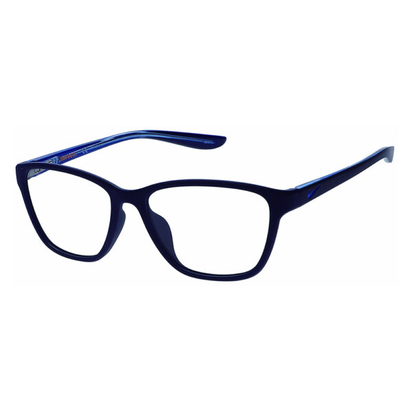 Nike 5028 Radiation Glasses 404 in Matte Midnight Navy/Royal frame, Angled to the Side left