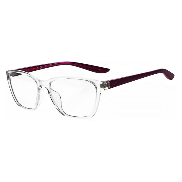 Nike 5028 Radiation Glasses 906 in Clear/Dark Beetroot frame, Angled to the Side Left