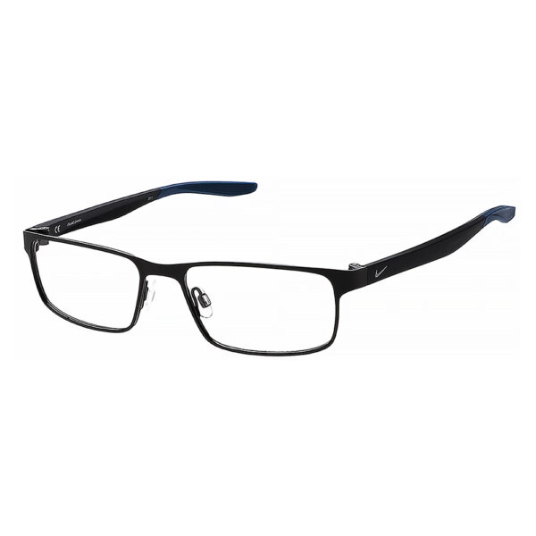 Nike 8131 Radiation Glasses 006 in Satin Black and Space Blue, Angled Side Left