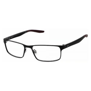 Nike 8131 Radiation Glasses 012 in Satin Black and Dark Beetroot, Angled Side Left
