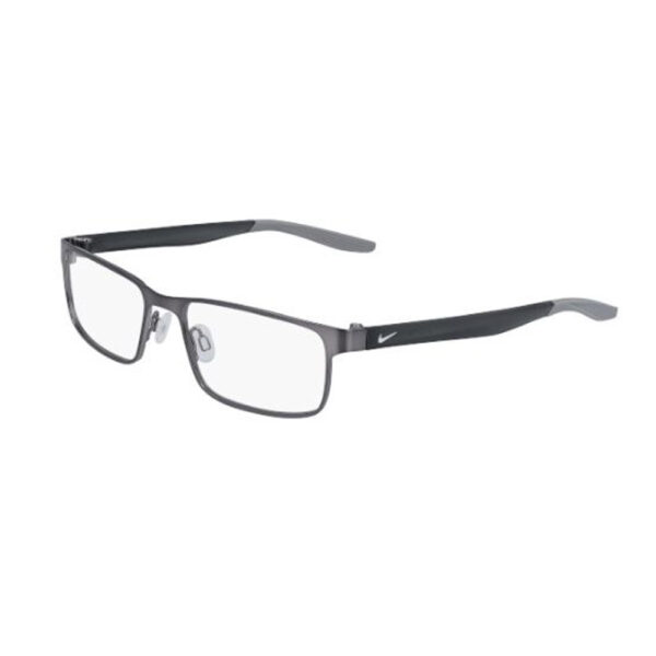Nike 8131 Radiation Glasses 073 in Brushed Gunmetal and Wolf Grey, Angled Side Left