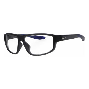 Nike Brazen Fuel E Radiation Glasses in Matte Dark Grey Frame, Angled to the Side Left