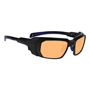 Model 16001 UVExcimerAKPCo2 in Black and Blue Frame, Angled to the Side Right