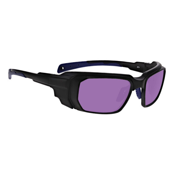 Model 16001 Vbeam, Vbeam2, Dye Filter in Black and Blue Frame, Angled to the Side Right