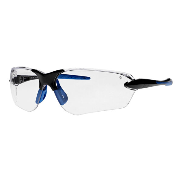 Dirtyhog Safety Glasses in Black Blue Frame with Clear Lens, Angled to the Side Left