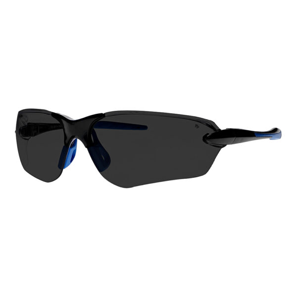 Dirtyhog Safety Glasses in Black Blue Frame with Smoke Grey Lens, Angled to the Side Left