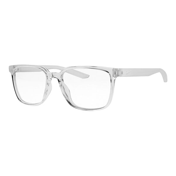 Nike Radiation Glasses 7302 in Clear Frame, Angled to the Side Left