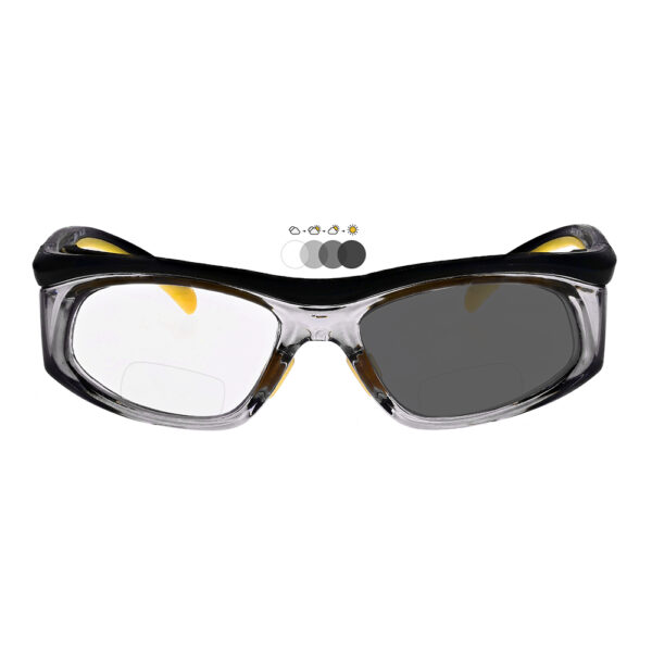 Photochromic Bifocal Safety Glasses in Black Yellow Frame with Transition Lens, Angled to the Front