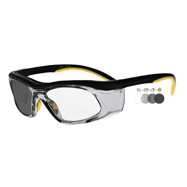 Photochromic Bifocal Safety Glasses in Black Yellow Frame with Transition Lens, Angled to the Side Left