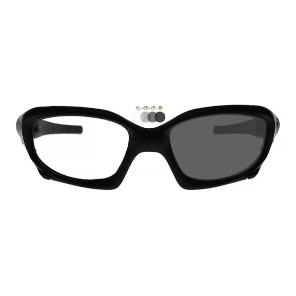Photochromic Safety Glasses 1205 in Black Frame with Transition Lens, Angled to the Front