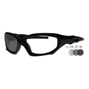 Photochromic Safety Glasses 1205 in Black Frame with Transition Lens, Angled to the Side Left