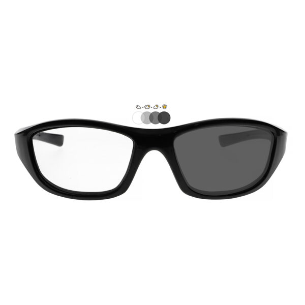 Photochromic Safety Glasses in Black Frame with Transition Lenses, Angled to the Front
