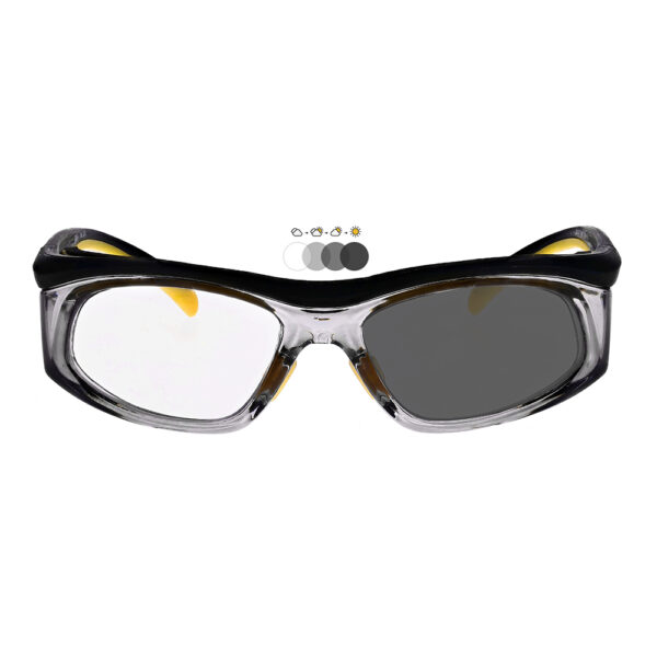 Photochromic Safety Glasses in Black Yellow Frame with Transition Lens, Angled to the Front
