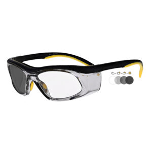 Photochromic Safety Glasses in Black Yellow Frame with Transition Lens, Angled to the Side Left