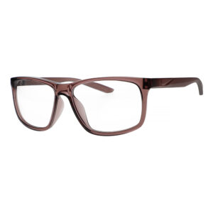 Nike Chaser Ascent Radiation Glasses in Smokey Mauve Frame, Angled to the Side Left