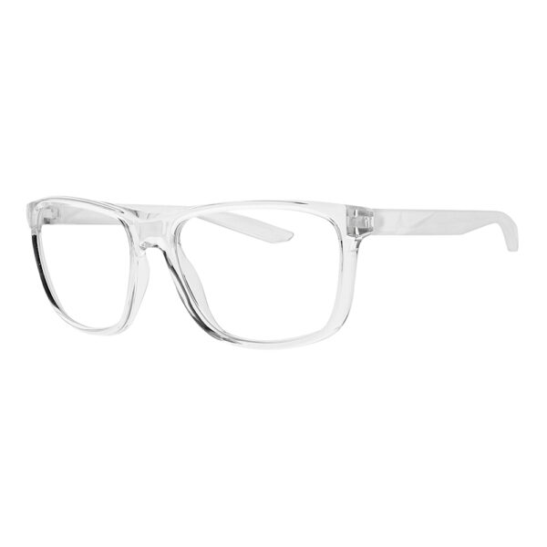 Nike Flip Ascent Radiation Glasses in Clear Frame, Angled to the Side Left