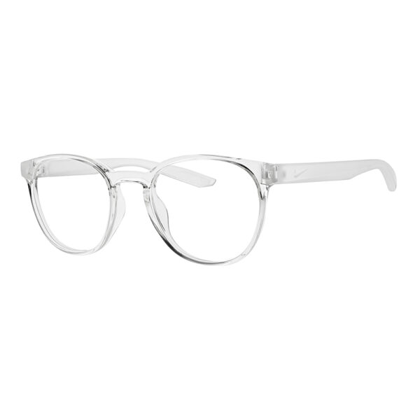 Nike Radiation Glasses 7301 in Clear Frame, Angled to the Side Left