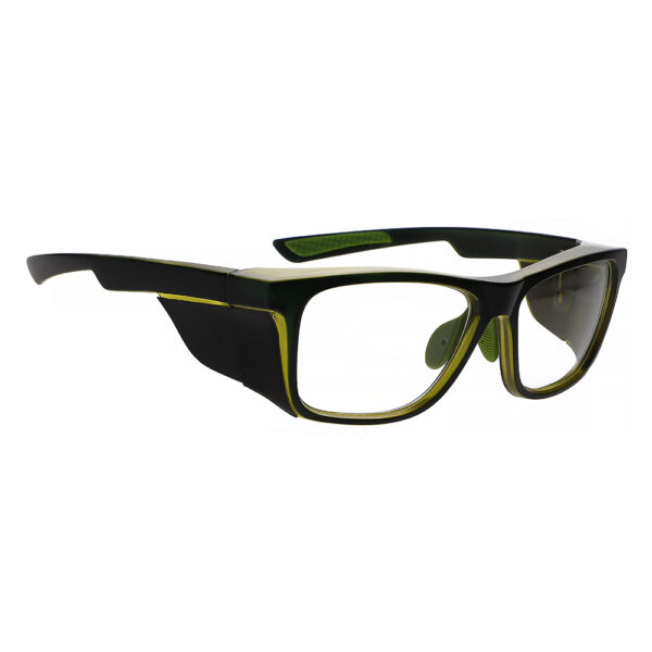 Radiation Glasses Model 15011 in Black/Green Frame, Angled to the Side Right