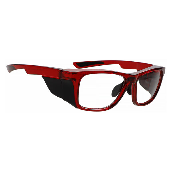 Radiation Glasses Model 15011 in Crystal Red Frame, Angled to the Side Right