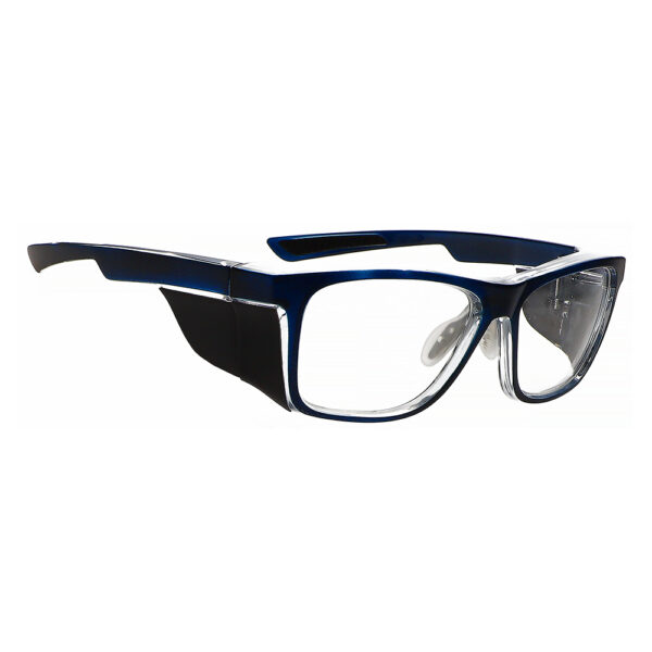 Radiation Glasses Model 15011 in Navy Clear Frame, Angled to the Side Right