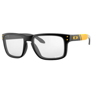 Radiation Glasses Oakley NFL Holbrook Pittsburgh Steelers in Matte Black Frame with Yellow Stripe
