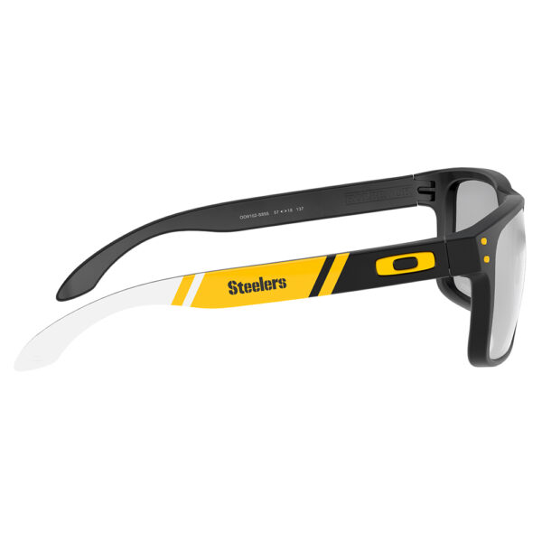 Radiation Glasses Oakley NFL Holbrook Pittsburgh Steelers in Matte Black Frame with Yellow Stripe Side Angle